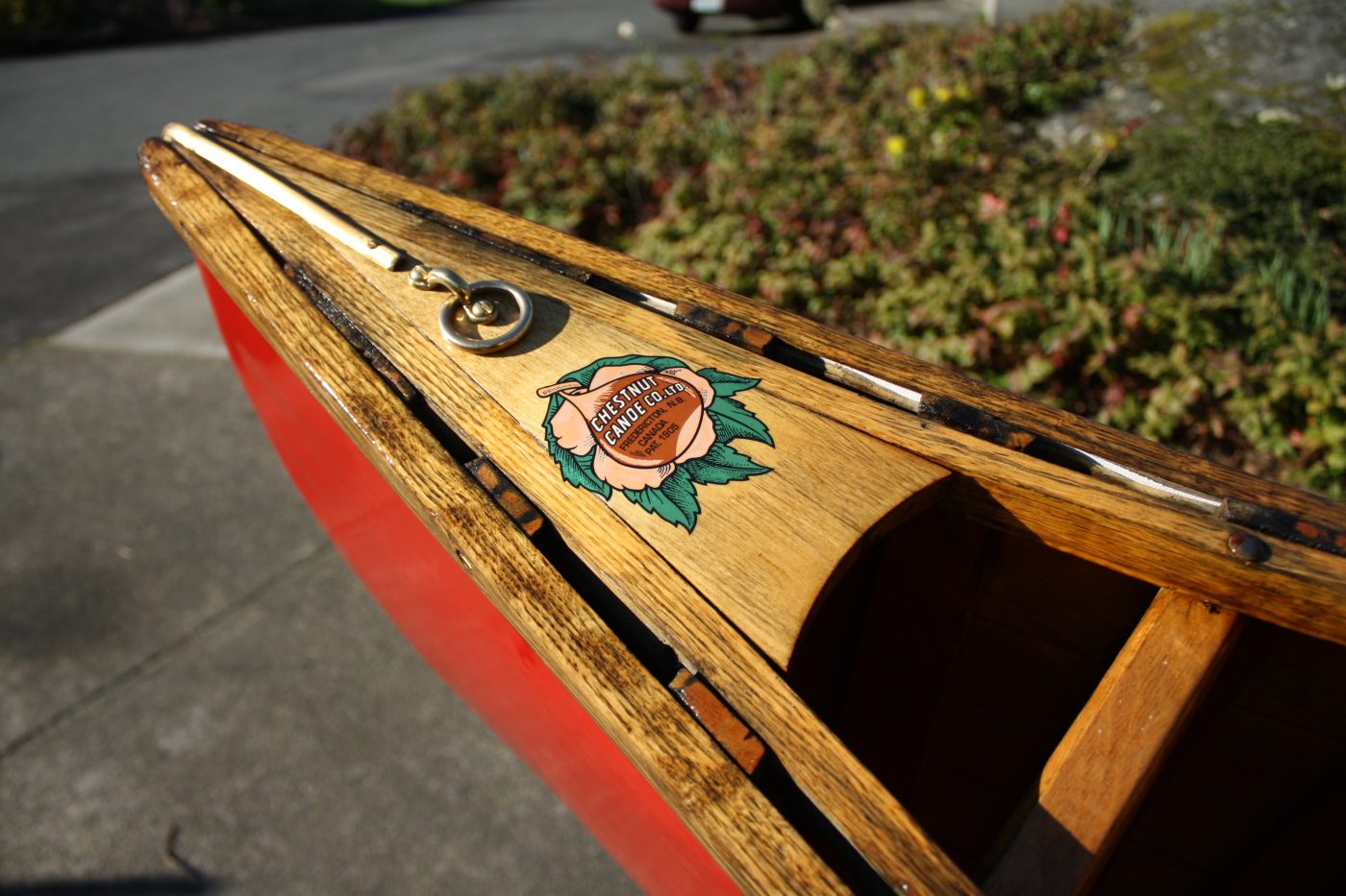 Chestnut canoe bow detail