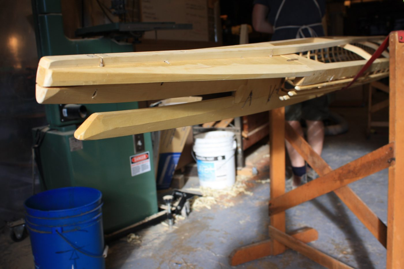 Baidarka frame under construction, bow detail