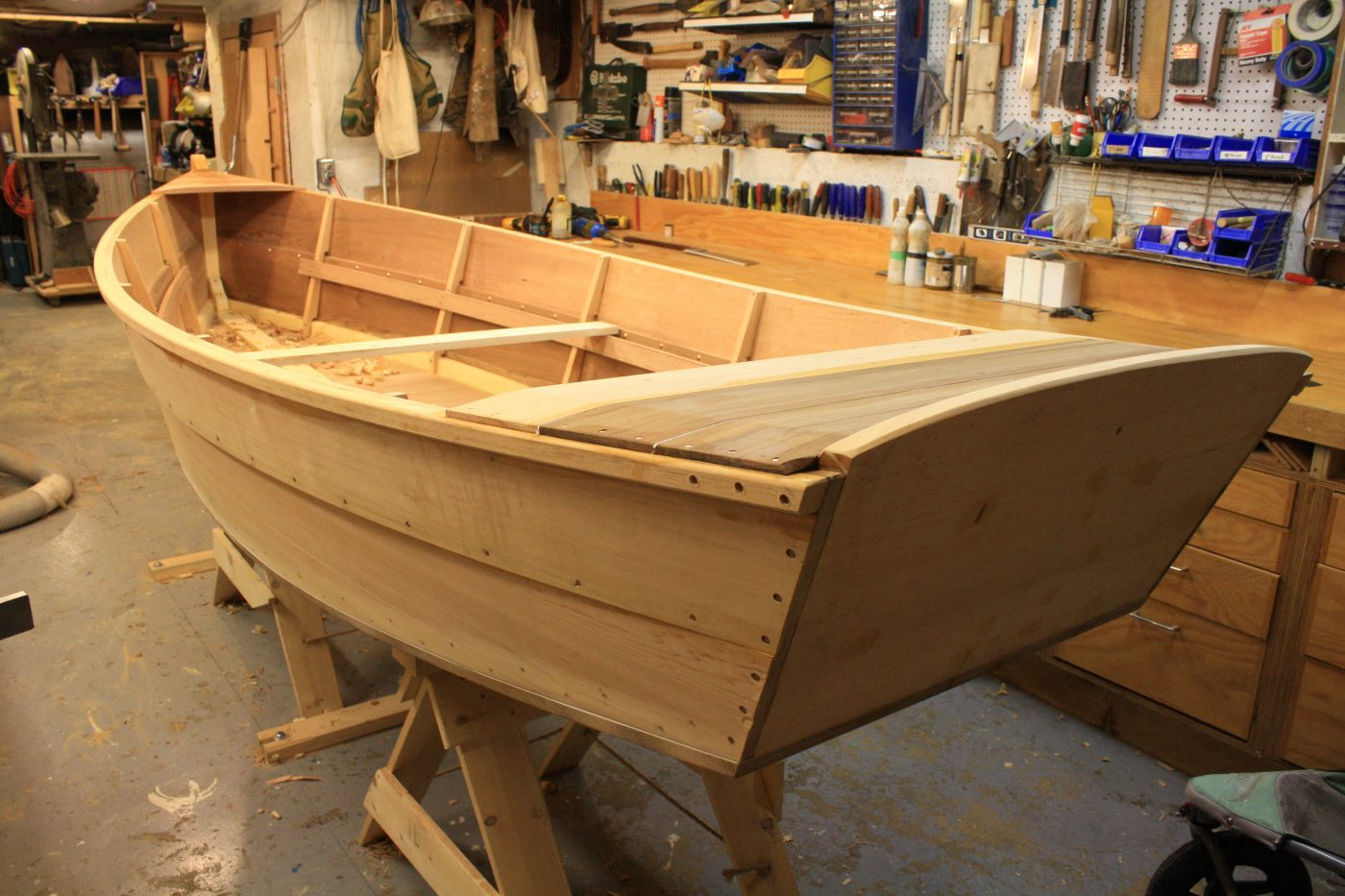 Fisgard Skiff under construction stern detail