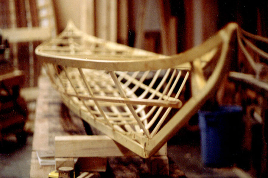 Athapaskan Upper Yukon River canoe under construction