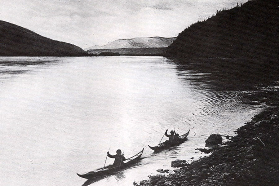 Athapaskan Upper Yukon River canoe historic photo