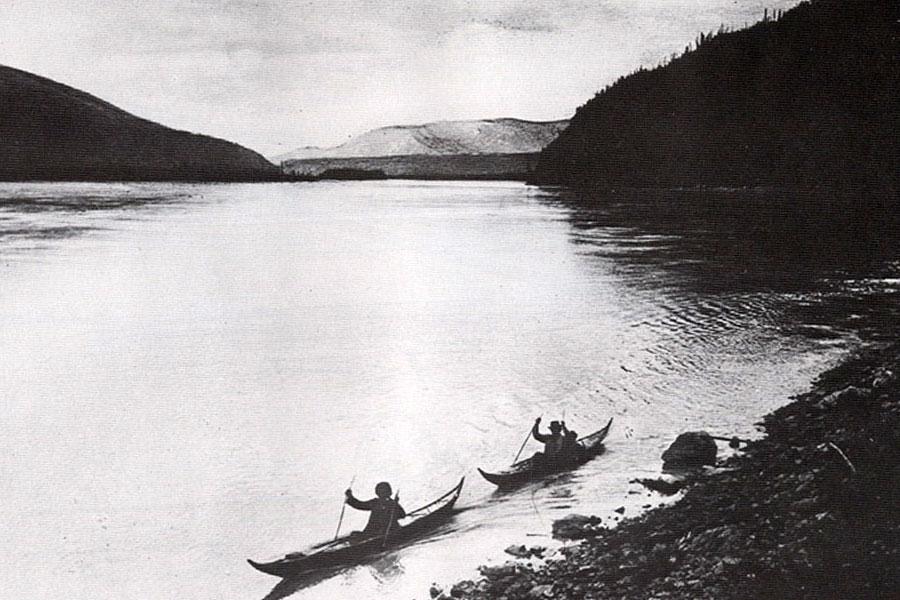 Athapaskan Upper Yukon River canoe historic photo