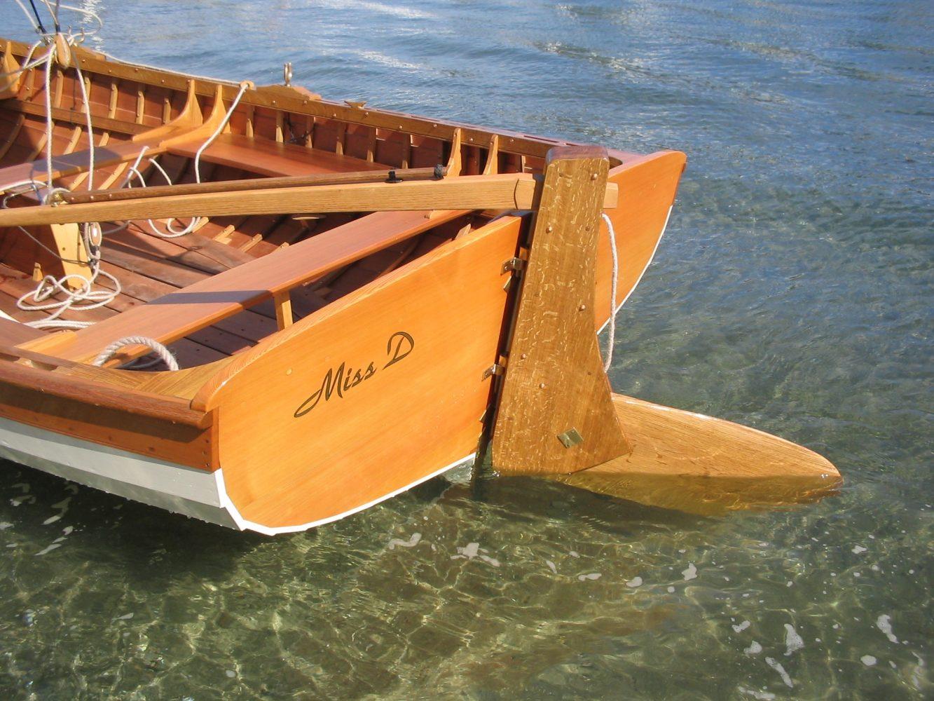 Paul Gartside designed Skylark dinghy transom detail