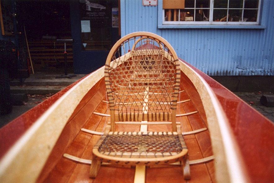 Vesper canoe, babiche seat
