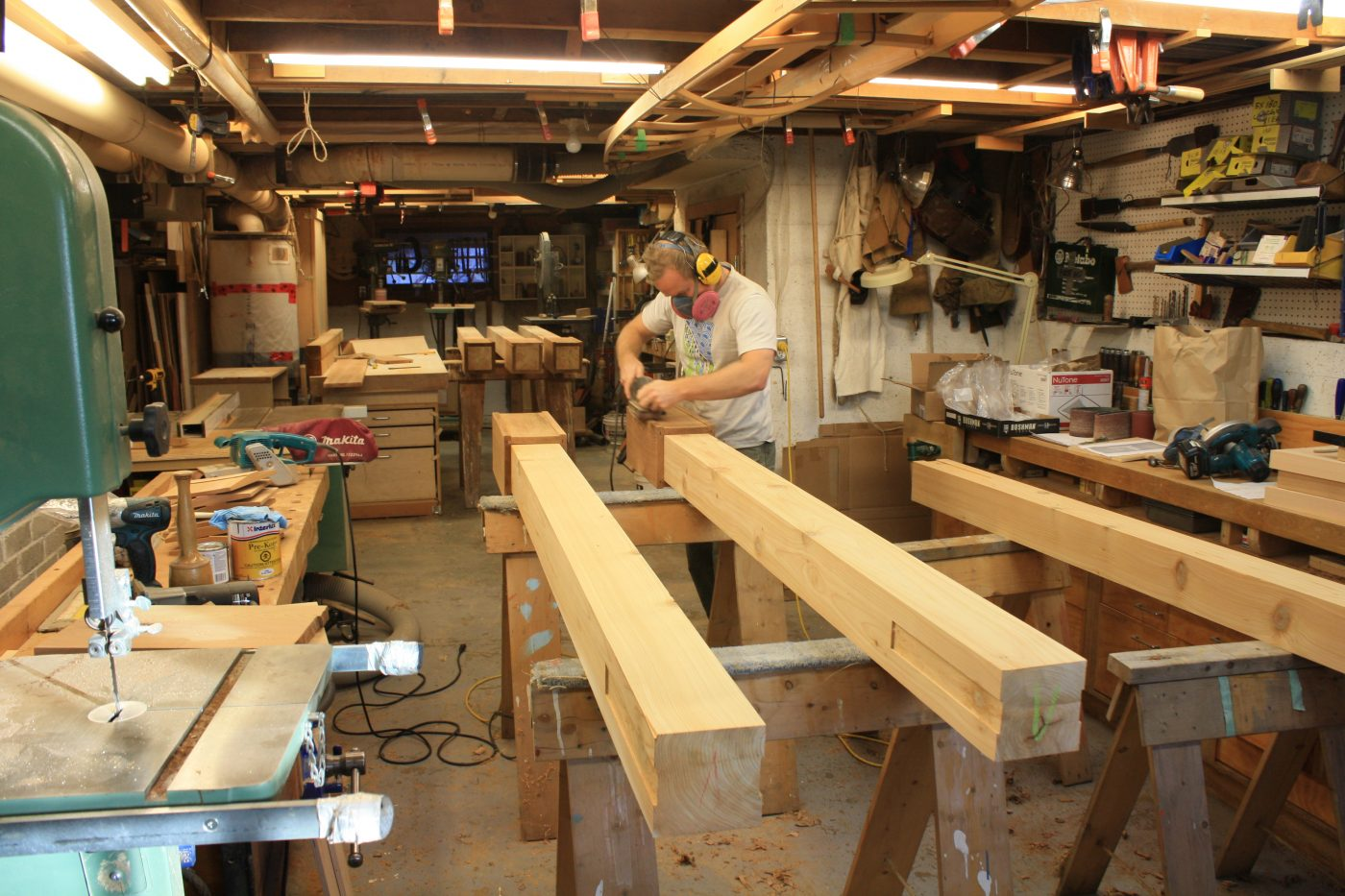 Curved cedar arbour under construction