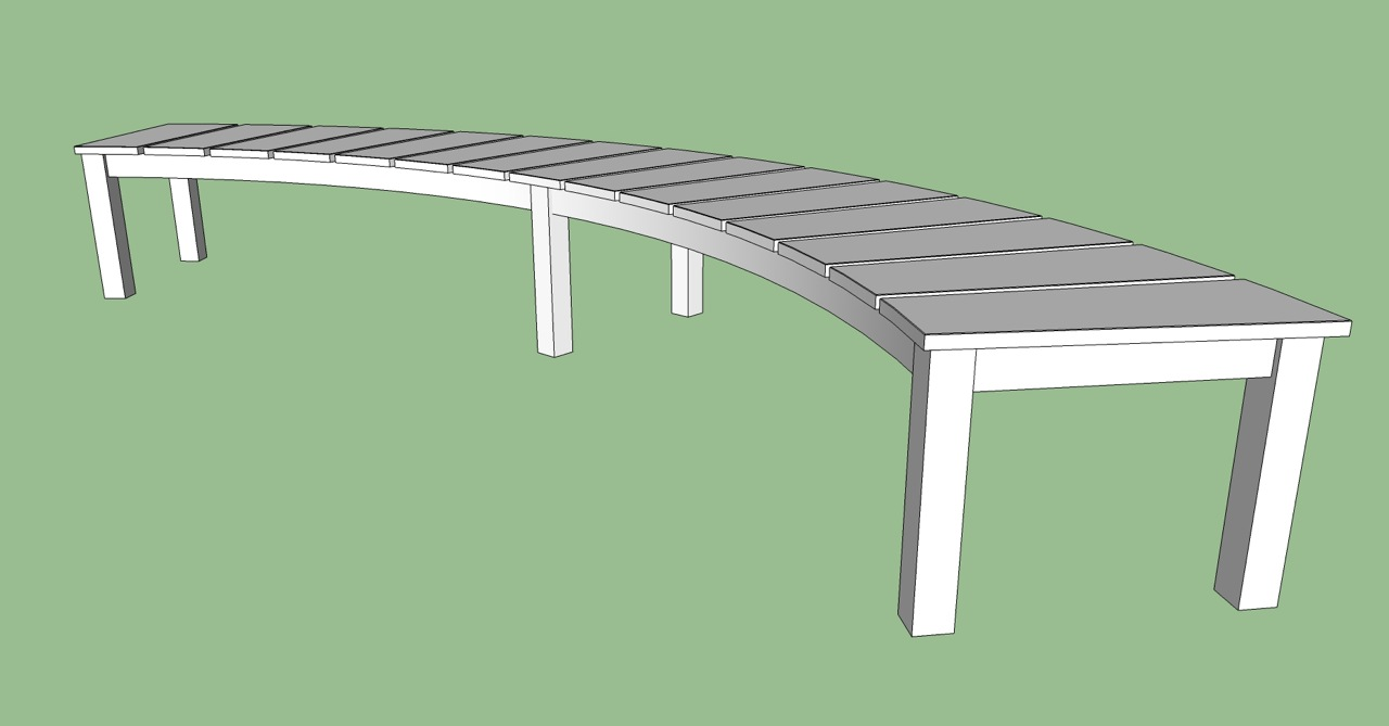 Curved garden bench sketchup drawing