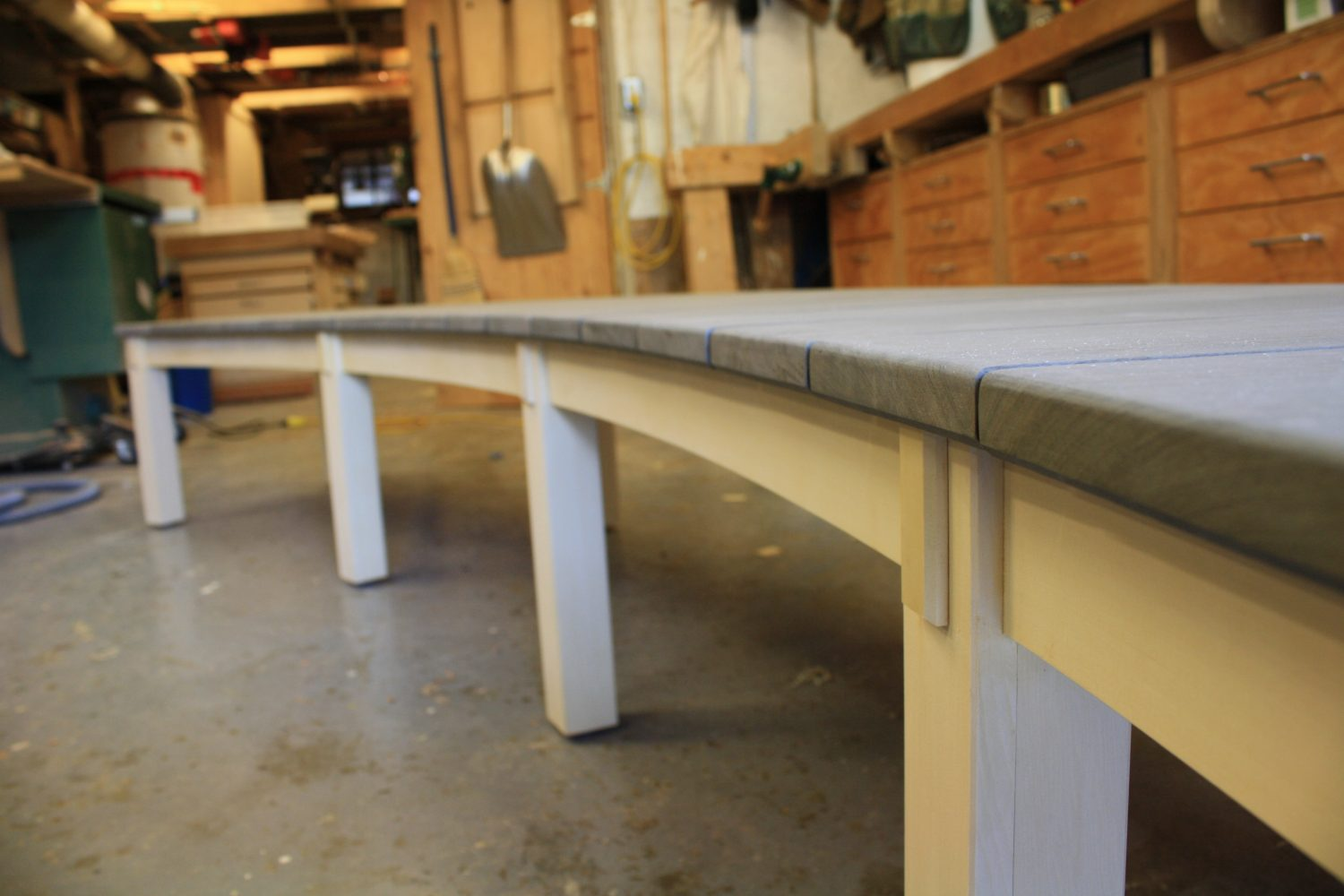 Curved garden bench finished