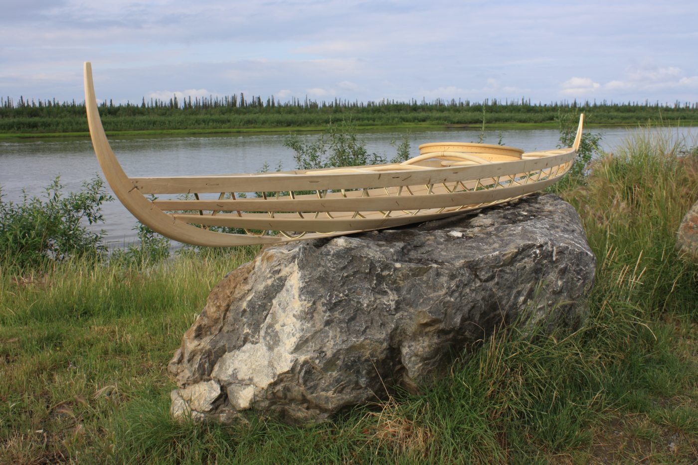 Inuvialuit kayak frame on the Mackenzie river