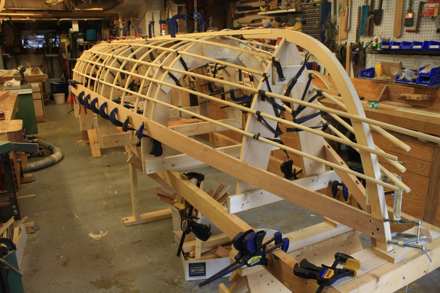 Skin-on-frame Pacific handliner under construction