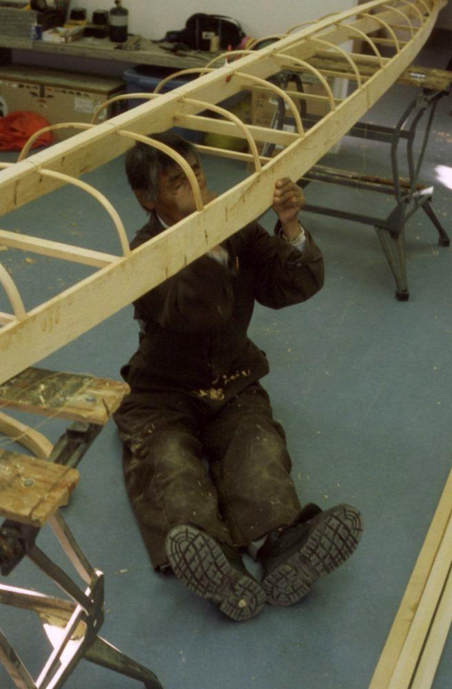Gino Akkaq building Netsilikmeot kayak