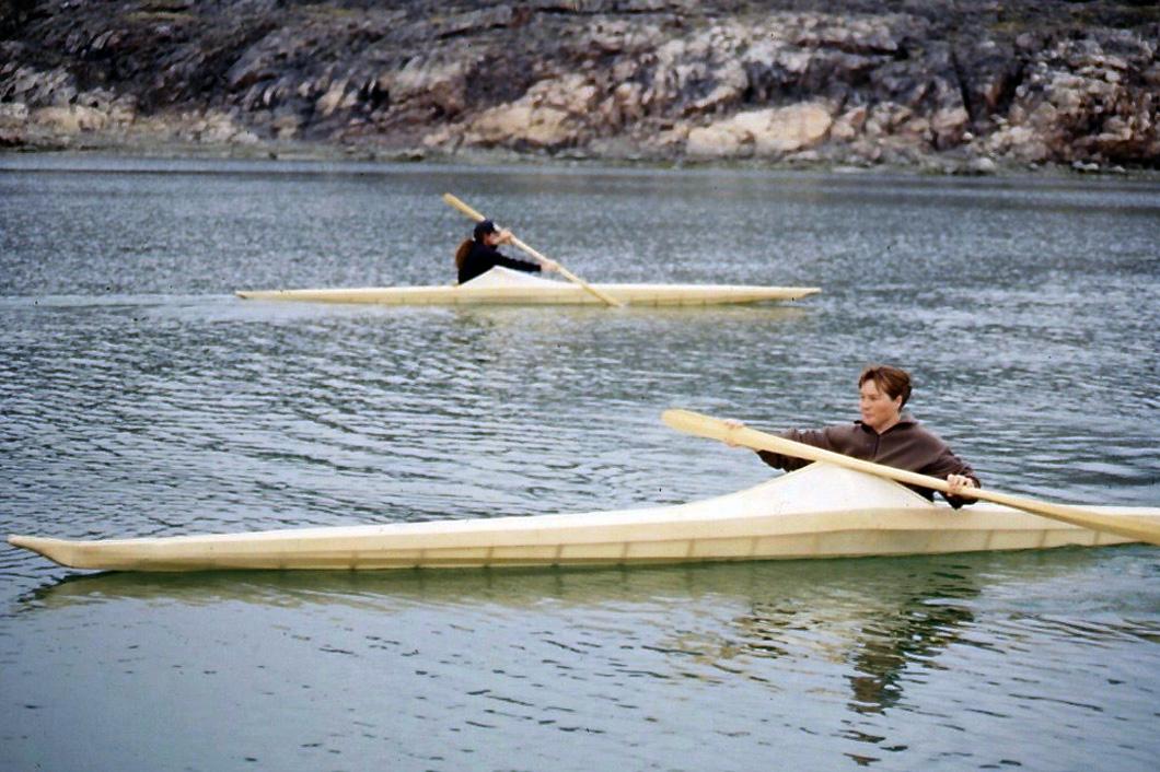 Shona Lalonde paddling Netsilikmeot kayak in Nunavut