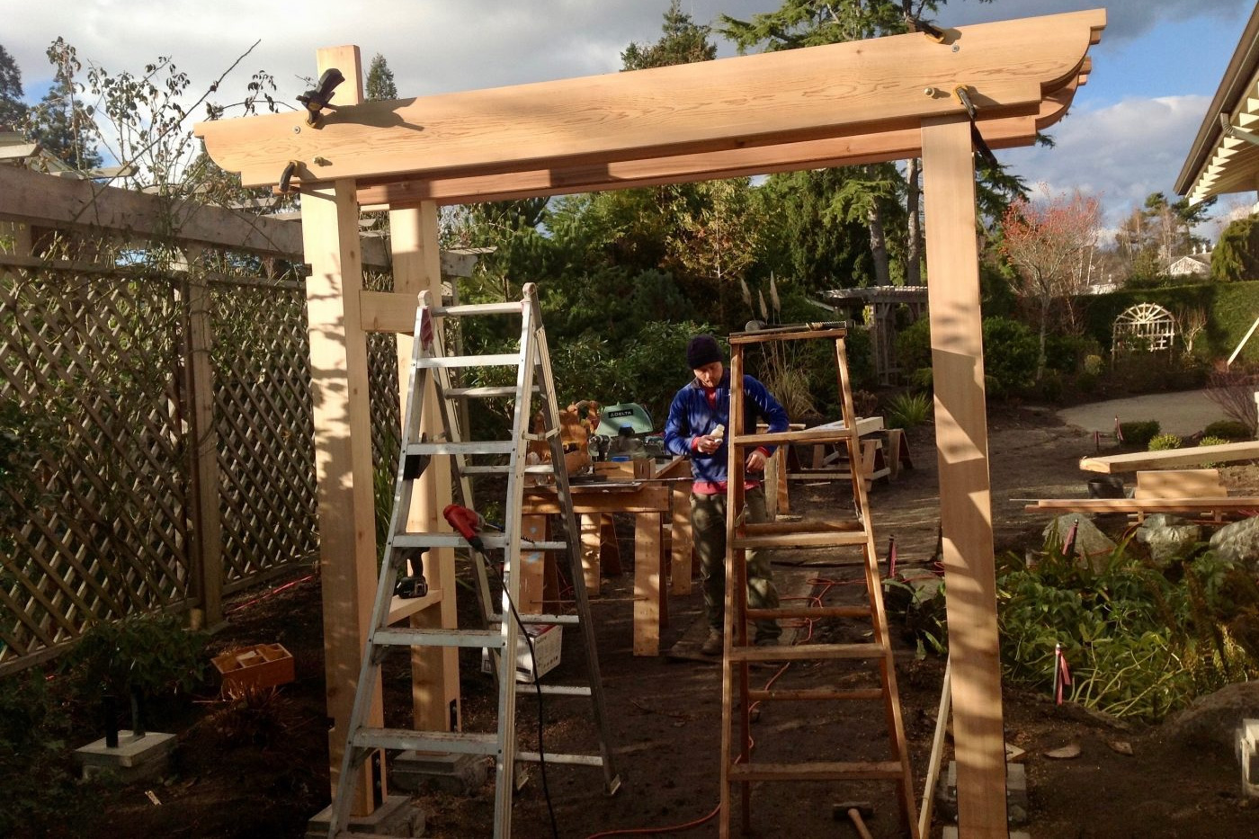 arbour gate under construction