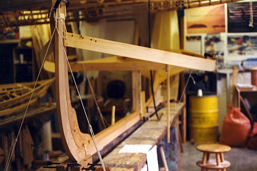 Skin-on-frame providence river boat under construction
