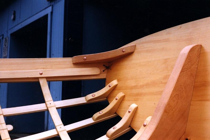 Skin-on-frame providence river boat detail